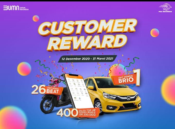 Pos Indonesia Luncurkan Program Customer Reward Berhadiah Mobil Motor Hingga Uang Tunai Kemajuan Rakyat